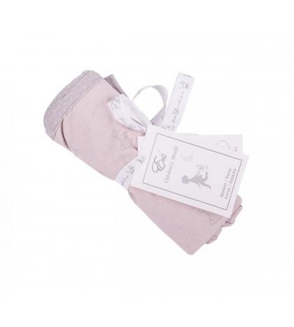 Obojstranná deka šedé zajačiky s ružovými bodkami