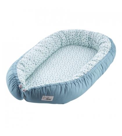 Obojstranné útulné hniezdo pre bábätká HAPPY DOTS Done by Deer modré