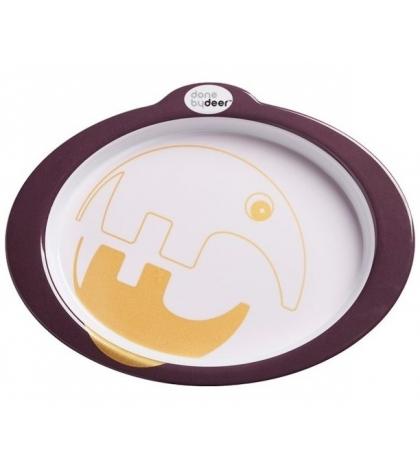 Protišmykový tanier s úchytmi Contour - tmavo ružový  Done by Deer