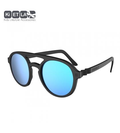 KiETLA CraZyg-Zag slnečné okuliare 6-9 rokov-pilotky-cierne-zrkadlovky