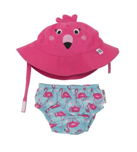 Zoocchini sada klobúčik a plavky Flamingo