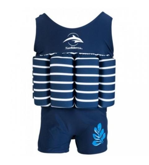 Konfidence Plávací oblek modré- biely pásik