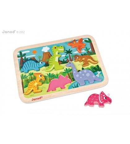 Janod Drevené vkladacie puzzle pre najmenších Dinosaurus Chunky
