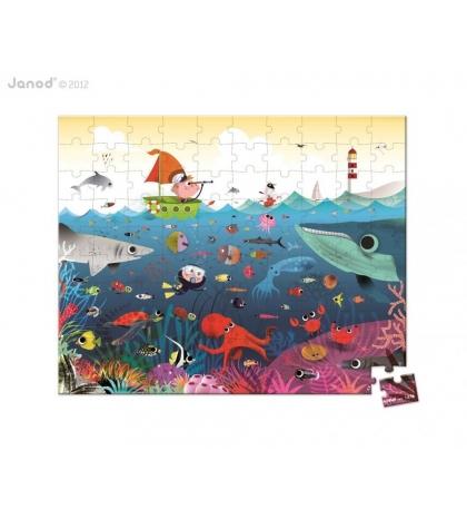 Janod Detské puzzle Svet pod vodou v okrúhlom kufríku 100 dielov