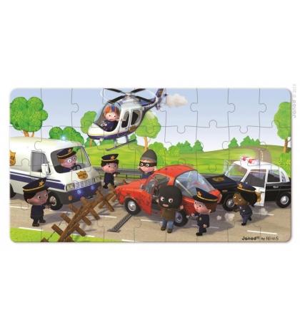 Janod Sada puzzle v krabičke Policajné auto 2 obrázky