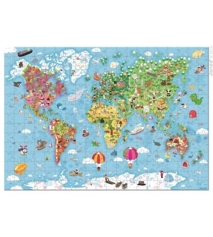 Janod Puzzle Mapa sveta v okrúhlom kufríku