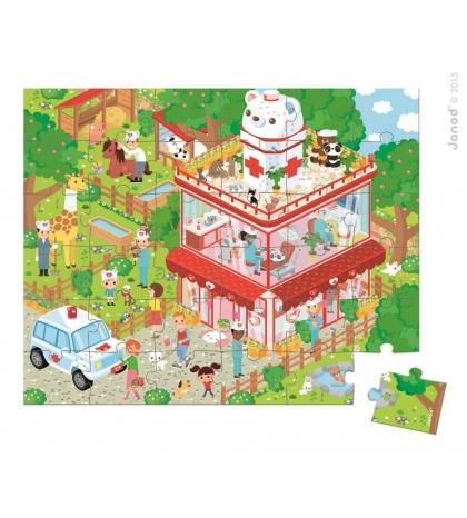 Janod Puzzle U veterinára so zvieratkami v okrúhlom kufríku