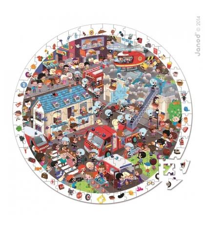 Janod Detské okrúhle puzzle s hrou Požiarnici v okrúhlom kufríku