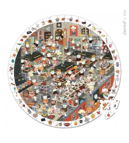 Janod Detské okrúhle puzzle s hrou Kuchyňa v okrúhlom kufríku