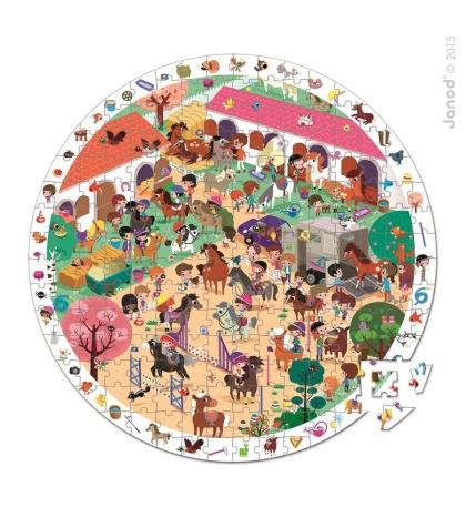 Janod Detské okrúhle puzzle s hrou Koníky v okrúhlom kufríku