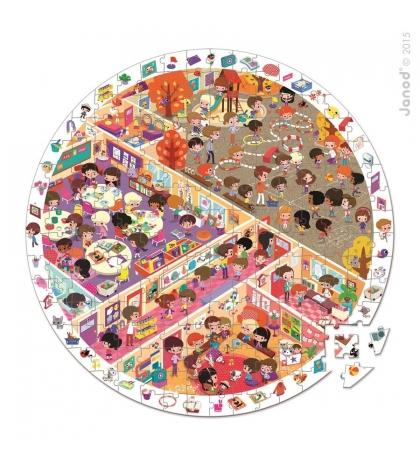 Janod Detské okrúhle puzzle s hrou Škola v okrúhlom kufríku