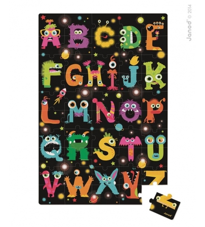Janod Detské puzzle na zem ABC Príšerky v okrúhlom kufríku