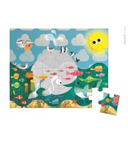Janod Puzzle Zvieratká v mori v okrúhlom kufríku