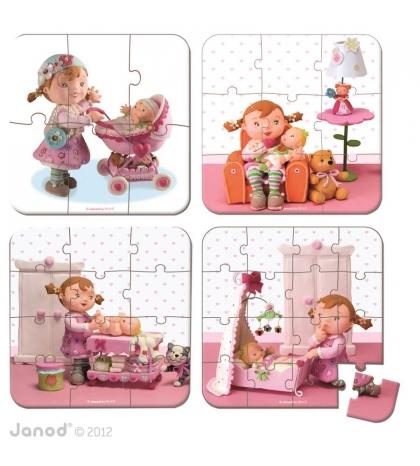 Janod Detské puzzle sada 4 v 1 Mamička Lilly v kufríku