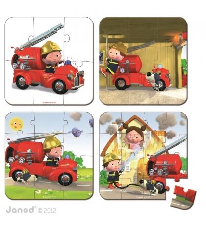 Janod Detské puzzle sada 4 v 1 Požiarnicke auto v kufríku
