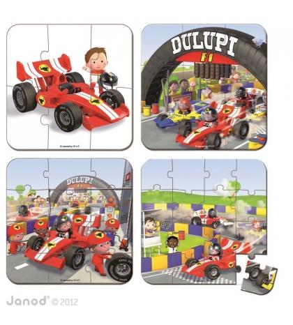 Janod Detské puzzle sada 4 v 1 Formula 1 v kufríku