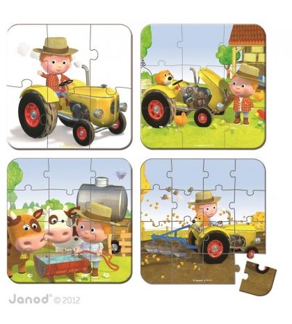 Janod Detské puzzle sada 4 v 1 Petrov traktor v kufríku