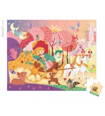 Janod Detské puzzle Princezná a koč v okrúhlom kufríku