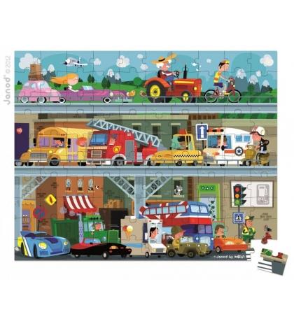 Janod Detské puzzle Dopravné prostriedky v okrúhlom kufríku