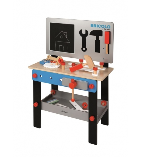 Janod Drevený pracovný stôl a dielnička BrikoKids magnetický s doplnkami