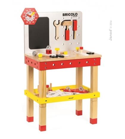 Janod Drevený magnetický pracovný stôl Redmaster Giant Bricolo XL so 40 doplnkami