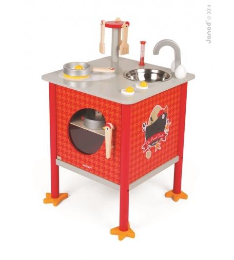 Janod Drevená magnetická kuchynka Kohútik červená s 8 doplnkami