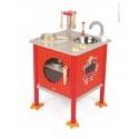 Janod Drevená magnetická kuchynka Kohútik červená