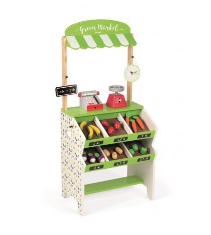 Janod Drevený obchod pre deti s pokladňou váhovou ovocím a zeleninou
