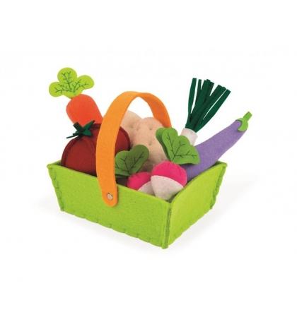 Janod Potraviny do detskej kuchynky na hranie Zelenina v košíku textilná 8 ks od 3 rokov