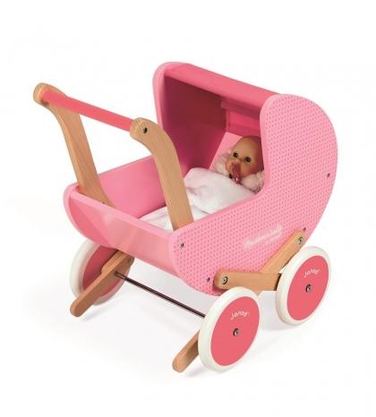 Janod Drevený kočík pre bábiky Mademoiselle ružový s perinkou pre deti od 1 roka