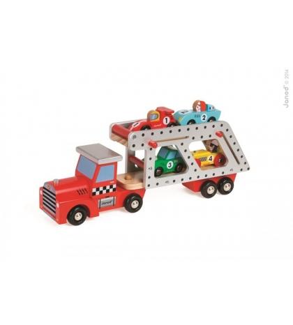 Janod drevené vyklápacie auto Story Car Transporter Janod so 4 autami