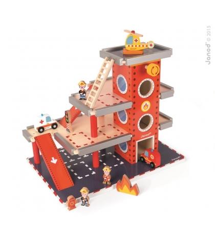 Janod drevená požiarna stanica a garáž Story doplnky 10 ks