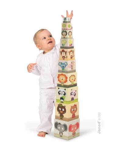 Janod Skladacia pyramída Rodiny zvierat štvorcová