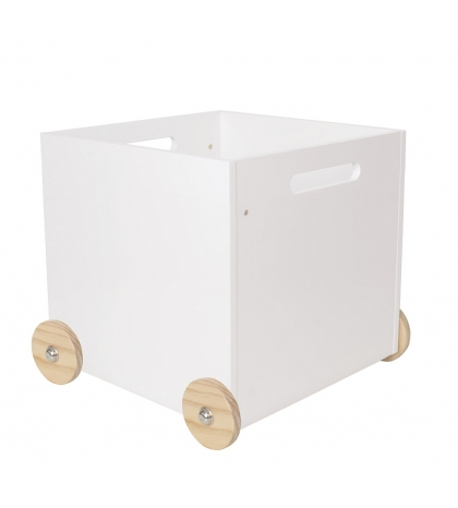 Jabadabado Drevený biely úložný box na kolieskach- veľký