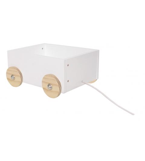 Jabadabado Drevený biely úložný box na kolieskach- malý