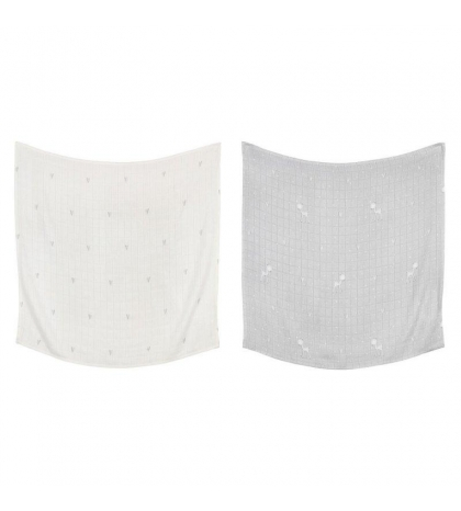 Effiki Bambusová  prikrývka 2 ks 120x120 by M. Socha biele srdcia šedé