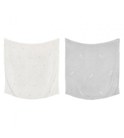 Effiki Bambusová  prikrývka 2 ks 70x70 by M. Socha biele srdcia, Roe-Dear šedá