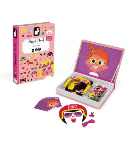Janod Magnetická kniha Zábavné tváre dievčatá