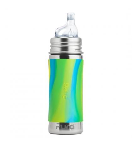 Pura® nerezová fľaša s náustkom 325ml zeleno modrá