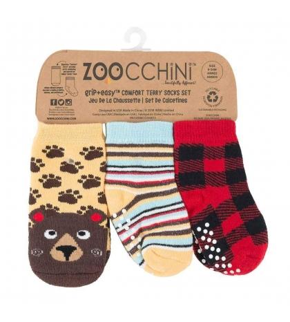 Zoocchini Set 3ks protišmykové ponožky medveď 0 - 24 m