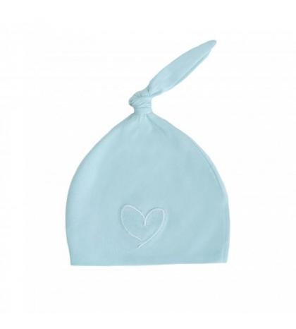 Novorodenecká čiapka 1-3 m modrá so srdcom 0-1 mes