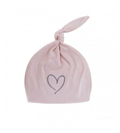 Effiky Novorodenecká čiapka 0-1 m ružová so srdcom