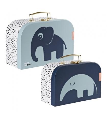 Done by Deer set detských kufríkov 2ks - modrý